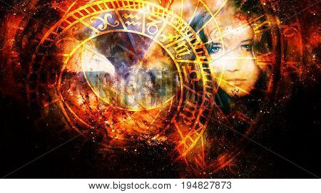 Goddess Woman and eagle and zodiac in Cosmic space