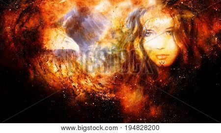 Goddess Woman and eagles in Cosmic space. Fire effect
