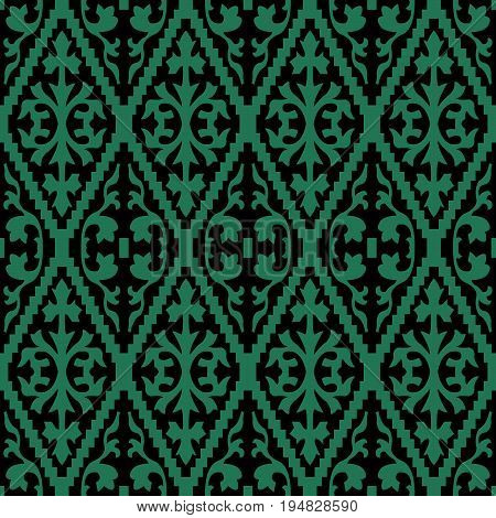 Antique Seamless Green Background Jagged Check Spiral