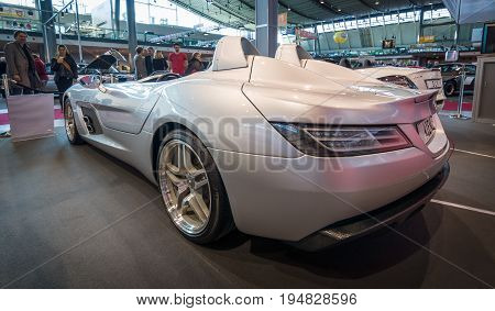 STUTTGART GERMANY- MARCH 17 2016: Grand tourer car Mercedes-Benz SLR Stirling Moss (limited edition 75 vehicles) 2009. Rear view. Europe's greatest classic car exhibition