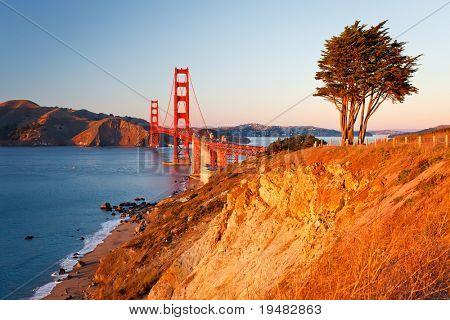 Golden Gate Bridge at sunset, San Francisco