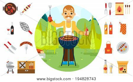 Barbecue man cook vacation food icons car background nature forest mountain design flat vector illustration