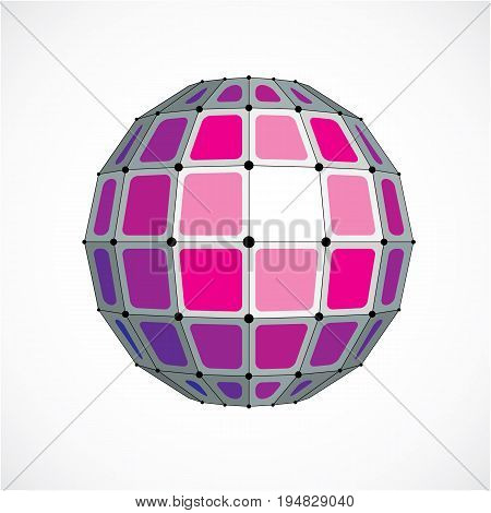 3d vector digital wireframe spherical object made using facets. Geometric polygonal purple structure created with lines mesh and squares. Low poly shape lattice form for use in web design.