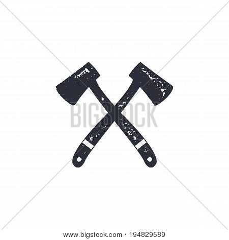 Vintage hand drawn crossed axes shape. Hiking adventure design. Camping icon. Retro monochrome style. Can be used for t shirts, prints, logotype, badges, icons and other identity. Stock vector.