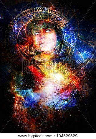 Goddess Woman in Cosmic space and zodiac