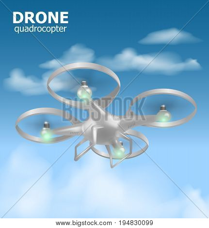 Realistic remote air drone quadrocopter flying in the sky and monitoring security. Isomertic view. Vector illustration EPS10