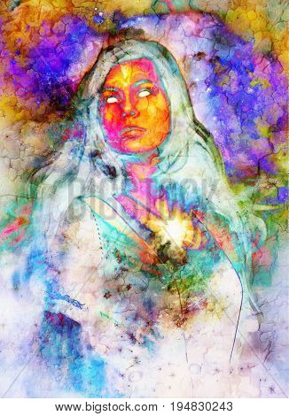 Woman and abstract color background. Crackle effect