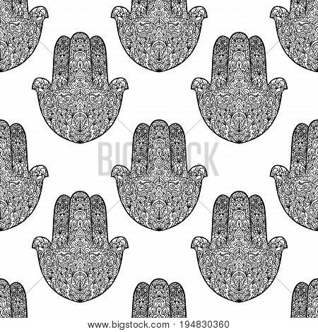 Hamsa pattern. Fatimas hand seamless background. Vector illustration. Indian mandala ornament. Asian pattern. Black and white authentic backdrop