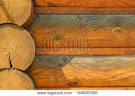 Natural background pattern of a log wall