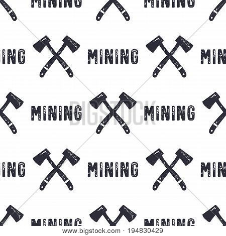 Hand drawn Mining seamless background. Can be used as classicd esignation - gold, silver mining etc. Or modern - Bitcoin or another Cryptocurrency. Monochrome style pattern. Stock vector.