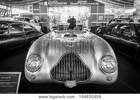 STUTTGART GERMANY - MARCH 17 2016: Racing car Veritas RS with the 6-cylinder engine of the BMW 328 1949. Black and white. Europe's greatest classic car exhibition