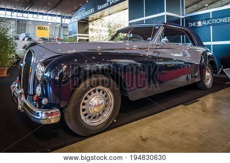 STUTTGART GERMANY - MARCH 17 2016: Luxury car Hotchkiss Anjou 2050 Cabriolet by Worblaufen 1950. Europe's greatest classic car exhibition