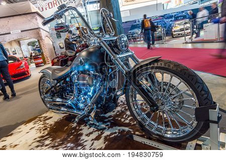 STUTTGART GERMANY - MARCH 17 2016: Motorcycle Harley-Davidson FXSB Softail Breakout