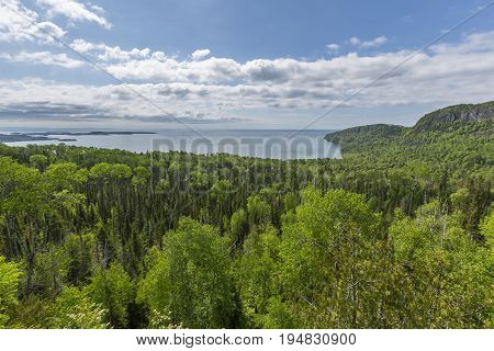 A scenic view of Lake Superior near Grand Portage MN. poster