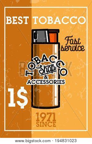 Color vintage tobacco shop banner. Smoke shop. Gentleman club badge, tobacco retail symbol vector illustration.