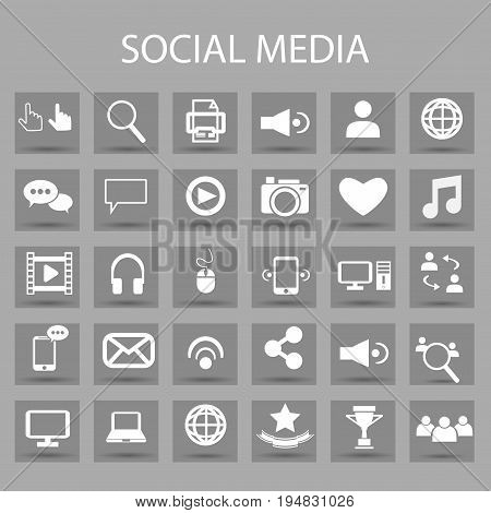 Vector flat icons set and graphic design elements. Illustration with social media and digital technology outline symbols. Like, speech bubble, avatar, computer, web, mobile linear pictogram