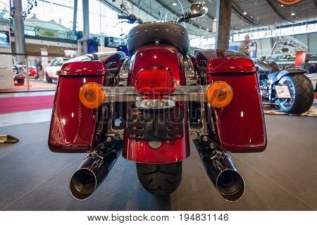 STUTTGART GERMANY - MARCH 17 2016: Motorcycle Harley-Davidson Road King 2016. Rear view. Europe's greatest classic car exhibition