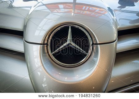 STUTTGART GERMANY - MARCH 17 2016: Fragment of a grand tourer car Mercedes-Benz SLR McLaren 2006. Europe's greatest classic car exhibition