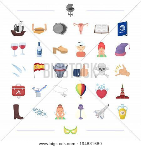 Russia, travel, Spain, health and other  icon in cartoon style.pizza, plumbing, gynecology icons in set collection.
