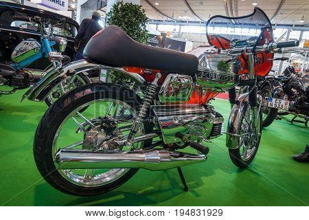 STUTTGART GERMANY - MARCH 17 2016: Motorcycle Kreidler Florett RS 1980. Europe's greatest classic car exhibition