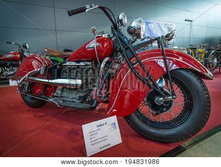 STUTTGART GERMANY - MARCH 17 2016: Motorcycle Indian Four 1939. Europe's greatest classic car exhibition