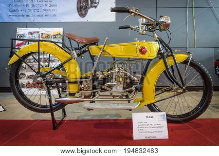 STUTTGART GERMANY - MARCH 17 2016: Motorcycle D-Rad M24 1924. Europe's greatest classic car exhibition