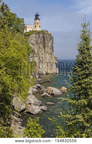 Split Rock Lighthouse - A lighthouse on a cliff along Lake Superior.
