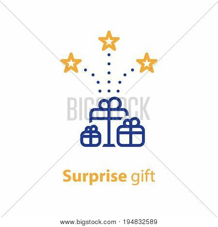 Gift boxes with stars, congratulations concept, surprise award, vector line icon