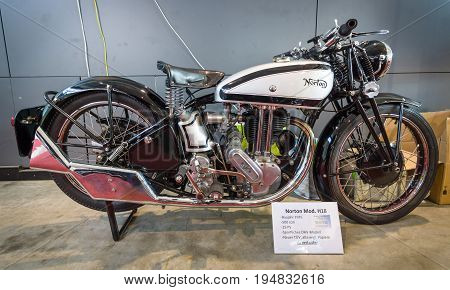 STUTTGART GERMANY - MARCH 17 2016: Motorcycle Norton Model 18 1935. Europe's greatest classic car exhibition