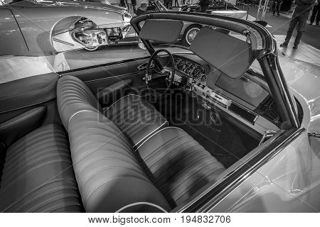 STUTTGART GERMANY - MARCH 17 2016: Cabin of mid-size luxury car Citroen DS19 Cabriolet. Black and white. Europe's greatest classic car exhibition