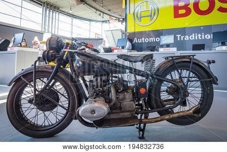 STUTTGART GERMANY - MARCH 17 2016: Sports motorcycle BMW R63 1929. Europe's greatest classic car exhibition