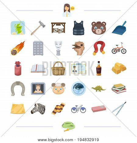 taxi, animal, reward, crime and other  icon in cartoon style. alcohol, education, cleanliness icons in set collection.
