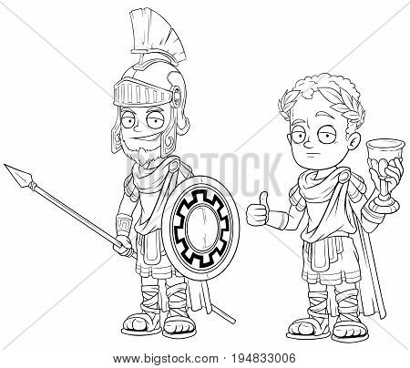 Cartoon roman imperator soldier with spear black and white character vector set for coloring
