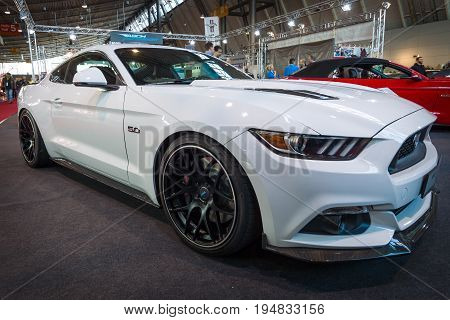 STUTTGART GERMANY - MARCH 17 2016: Pony car Ford Mustang GT fastback coupe (sixth generation) 2015. Europe's greatest classic car exhibition