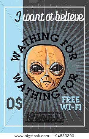 Color vintage UFO banner with design elements. Vector illustration, EPS 10