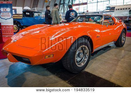 STUTTGART GERMANY - MARCH 17 2016: Sports car Chevrolet Corvette Stingray Coupe (C3) 1975. Europe's greatest classic car exhibition