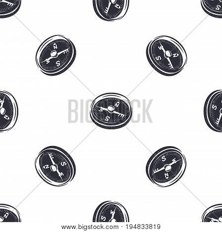 Vintage hand drawn compass seamless pattern. Monochrome design for fabric prints, t shirts and others identity. Stock vector.