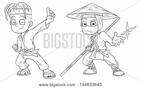 Cartoon karate boy and ninja black and white character vector set for coloring