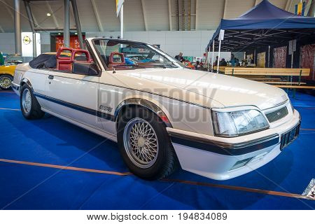 STUTTGART GERMANY - MARCH 17 2016: Executive car Opel Monza Keinath C5 (GSE edition) 1983. Europe's greatest classic car exhibition