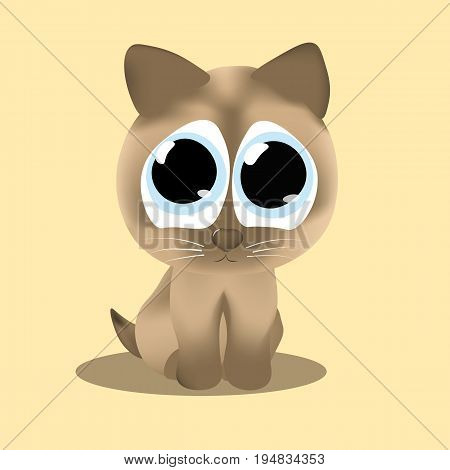 Vector image Kitten with sad eyes sits