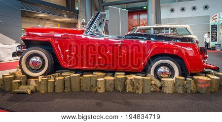 STUTTGART GERMANY - MARCH 17 2016: Vintage car Willys-Overland Jeepster 1949. Europe's greatest classic car exhibition