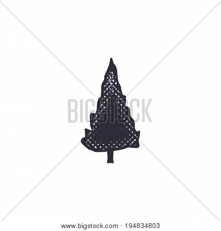 monochrome tree shape, icon. Vintage hand drawn design. Stock vector isolated on white background.