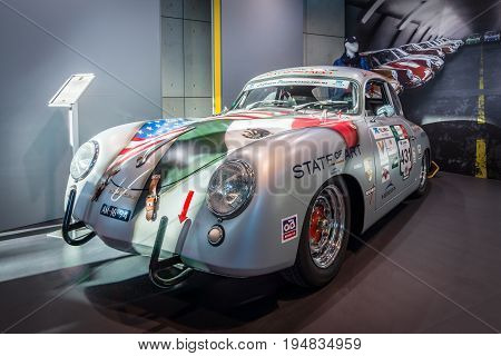 STUTTGART GERMANY - MARCH 17 2016: Sports car Porsche 356A Carrera Panamericana Coupe 1953. Europe's greatest classic car exhibition