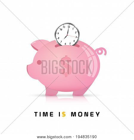 Time is Money concept. Piggy Bank Vector Illustration