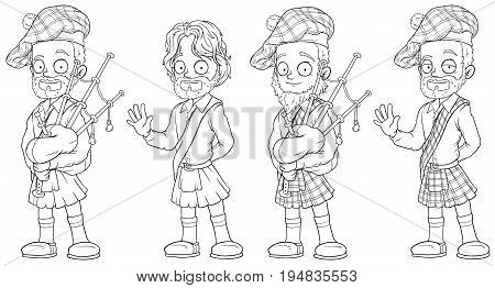 Cartoon scottish with bagpipe black and white character vector set for coloring