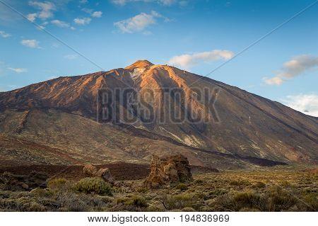 Teide volcano landscape. Tenerife national reserve volcanic park El Teide. Canary islands, Spain.