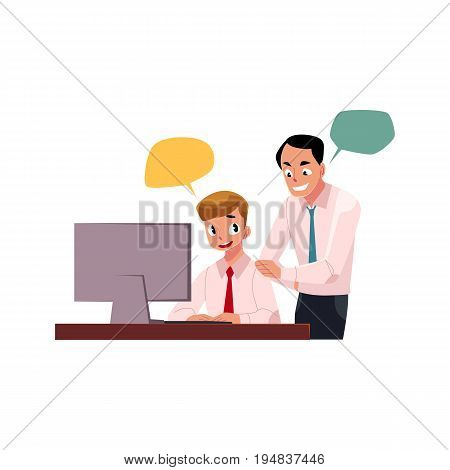 Boss managing male employee, man working on computer, cartoon vector illustration isolated on white background with speech bubbles. Boss supervising male employee working in office with speech bubbles