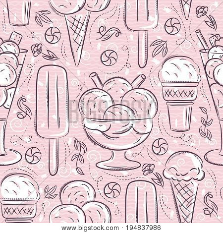 Seamless Patterns with ice cream on pink background Ideal for printing onto fabric and paper or scrap booking.