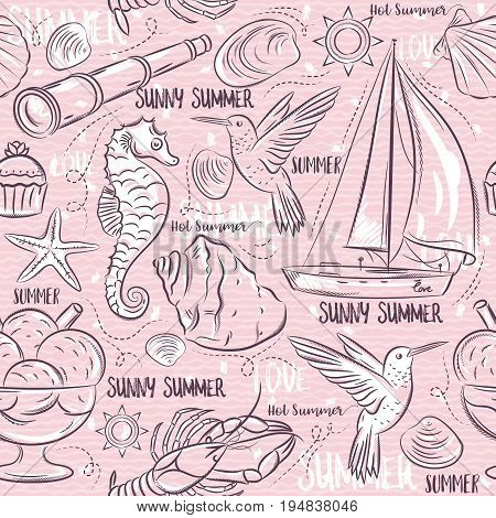 Seamless Patterns with summer symbols boat sea horse telescope ice cream hummingbird on a pink background vector illustration.