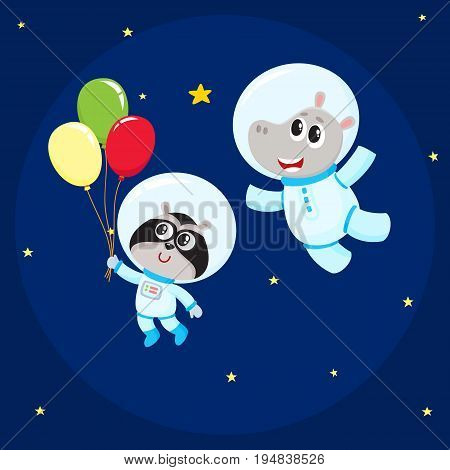 Cute little animal astronaut, spaceman characters, hippo and raccoon wearing spacesuits, flying in open space, cartoon vector illustration. Hippo and raccoon astronaut, spaceman characters in space